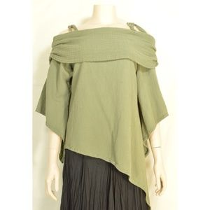 Oh My Gauze top S Pilar moss green bell sleeves co